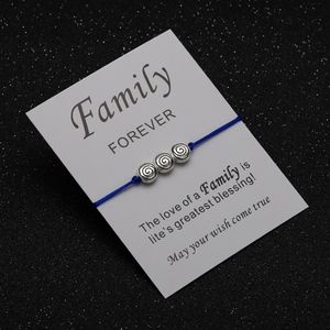 Jewelry - FAMILY Circle Sapphire Blue Rope Bracelet & Card